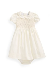 Ralph Lauren Childrenswear Pinwale Corduroy Shirred Dress w/ Bloomers