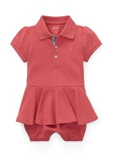 Ralph Lauren Childrenswear Pique Peplum Polo Shortall  Size 3-18 Months