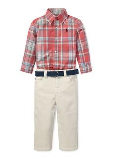 Ralph Lauren Childrenswear Plaid Poplin Collar Shirt w/ Twill Pants & D-Ring Belt  Size 6-24 Months