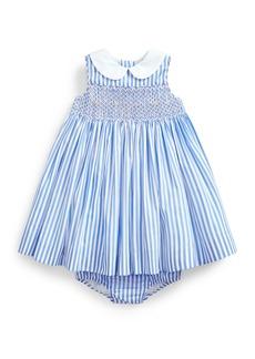 Ralph Lauren Childrenswear Poplin Bengal Stripe Smocked Dress w/ Matching Bloomers  Size 6-24 Months