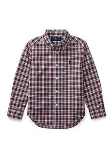 Ralph Lauren Childrenswear Poplin Plaid Button-Down Shirt  Red Pattern  Size 5-7