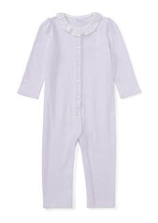 Ralph Lauren Childrenswear Ruffle-Collar Cotton Coverall