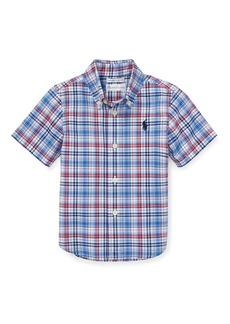 Ralph Lauren Childrenswear Short-Sleeve Collared Plaid Shirt  Size 12-24 Months