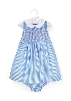 Ralph Lauren Childrenswear Smocked Bengal Stripe Woven Dress w/ Matching Bloomers  Size 6-24 Months