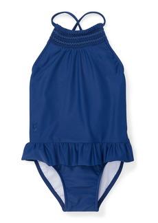 Ralph Lauren Childrenswear Smocked High-Neck One-Piece Swimsuit  Size 12-24 Months
