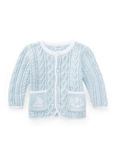 Ralph Lauren Childrenswear Soft Pearl Aran-Cable Knit Cardigan