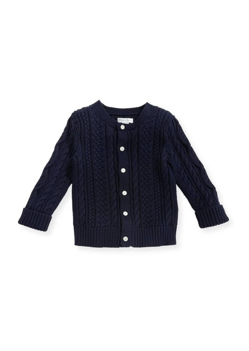 Ralph Lauren Childrenswear Soft Pearl Cotton Cable-Knit Cardigan  Navy  6-24 Months