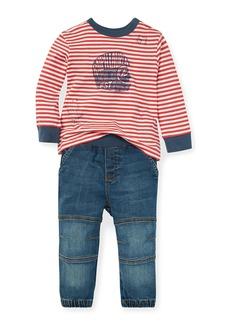 Ralph Lauren Childrenswear Striped Graphic Top w/ Denim Pants  Size 6-24 Months