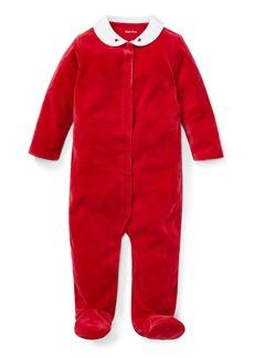 Ralph Lauren Childrenswear Velour Collar Footie Playsuit  Size 3-9 Months