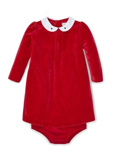 Ralph Lauren Childrenswear Velour Long-Sleeve Dress w/ Matching Bloomers