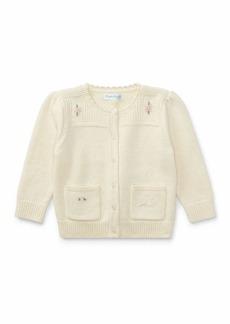 Ralph Lauren Childrenswear Wool-Blend Flower Embroidered Cardigan