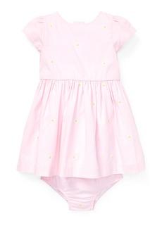 Ralph Lauren Childrenswear Woven Floral Schiffli Dress w/ Matching Bloomers  Size 6-24 Months