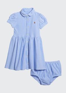 Ralph Lauren Childrenswear Yarn-Dyed Oxford Mesh Stripe Dress w/ Matching Bloomers  Size 6-24 Months