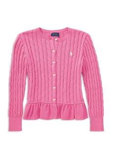 Ralph Lauren Childrenswer Girls' Cotton Ruffled Cardigan - Big Kid