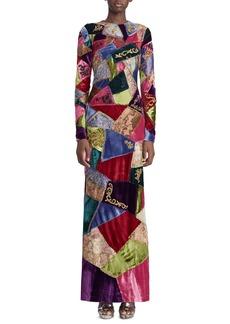 Ralph Lauren Collection 50th Anniversary Hamlin Long-Sleeve Embroidered Patchwork Evening Dress