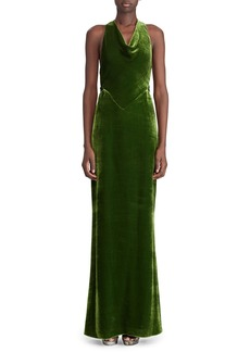 Ralph Lauren Collection 50th Anniversary Perla Cowl-Neck Sleeveless Twist-Back A-Line Velvet Evening Gown