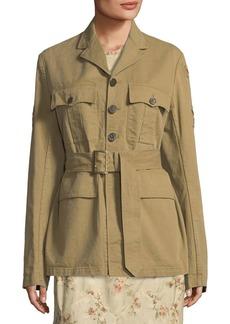 Ralph Lauren Afton Button-Front Twill Safari Jacket