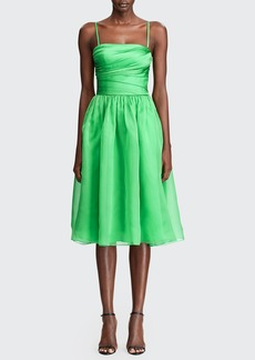 Ralph Lauren Collection Annora Gathered Silk-Taffeta Midi Dress