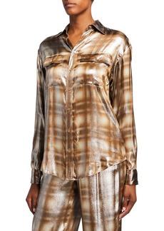 Ralph Lauren Collection Antoinette Menswear Plaid Blouse