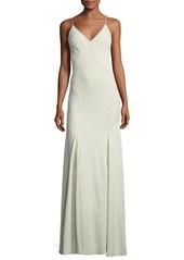 Ralph Lauren Augustina V-Neck Sleeveless Pintucked Evening Gown