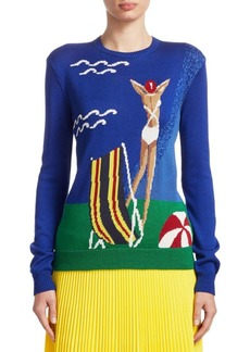 Ralph Lauren Beach Scene Silk Intarsia Sweater