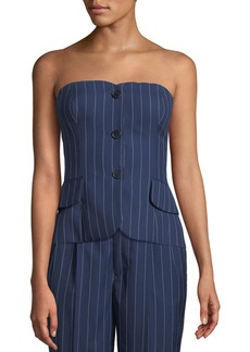 Ralph Lauren Collection Blanche Pinstriped Bustier Top