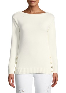 Ralph Lauren Collection Boat-Neck Long-Sleeve Chunky Cotton Jersey Sweater w Button Detail
