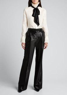 Ralph Lauren Collection Breanna Wool-Silk Jacquard Wide-Leg Pants