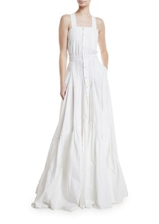 Ralph Lauren Collection Brooke Button-Front Poplin Gown