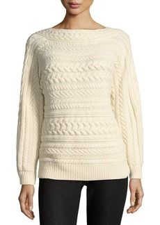 Ralph Lauren Collection Cable-Knit Dolman-Sleeve Cashmere Sweater