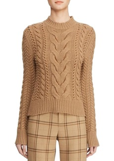 Ralph Lauren Collection Cable-Knit Leather-Woven Mock-Neck Sweater