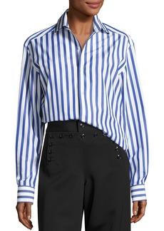Ralph Lauren Collection Capri Striped Cotton Blouse  White
