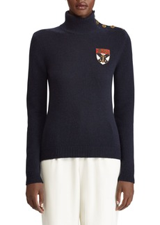 Ralph Lauren Collection Cashmere Button-Shoulder Military Patchwork Sweater