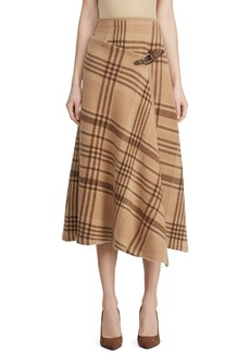 Ralph Lauren Collection Checked Cashmere Buckle-Wrap Skirt