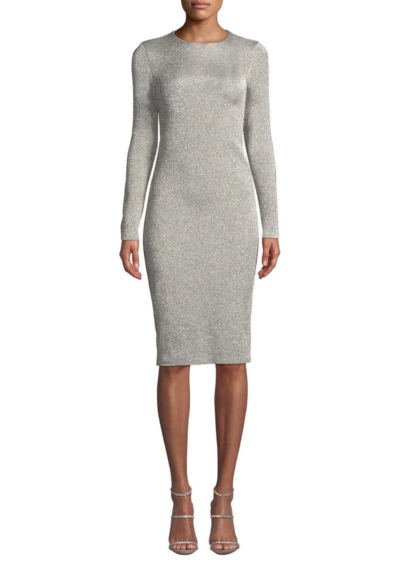 Ralph Lauren Collection Crewneck Long-Sleeve Metallic-Jersey Body-con Midi Dress