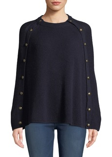 Ralph Lauren Collection Crewneck Ribbed Cashmere Cape w/ Buttons