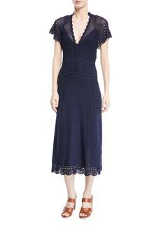 Ralph Lauren Collection Crocheted Batwing Midi Dress