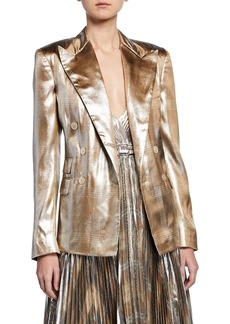 Ralph Lauren Collection Elias Metallic Checkered Blazer Jacket