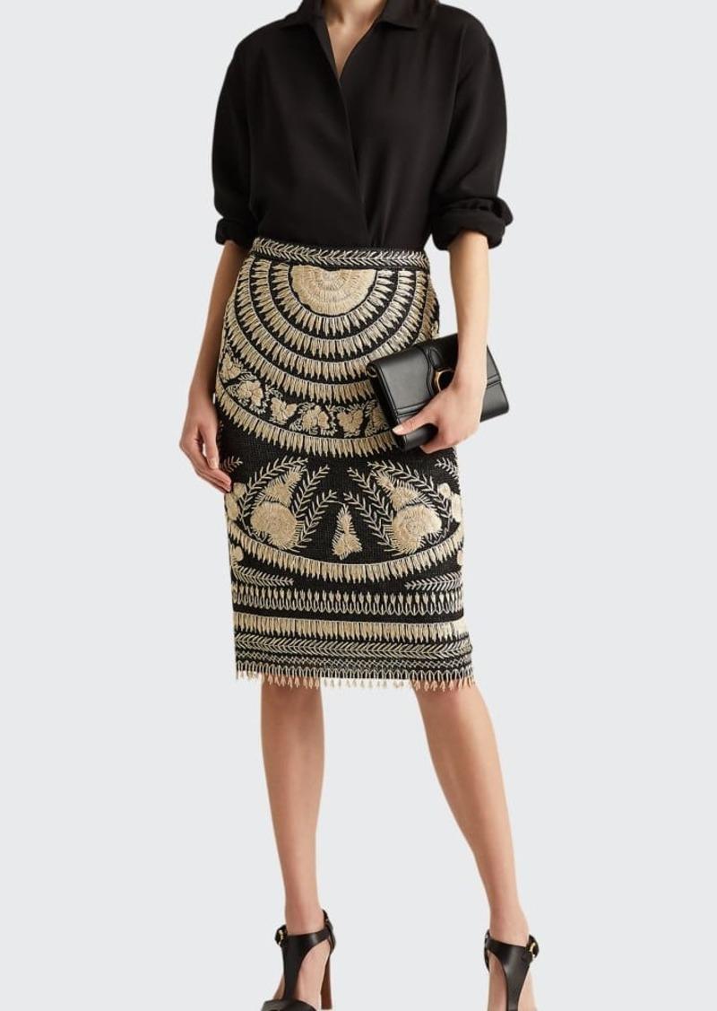 Ralph Lauren Collection Embroidered Silk Pencil Skirt