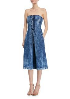 Ralph Lauren Collection Esme Lace-Up Strapless Denim Dress