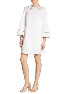 Ralph Lauren Collection Felicia Wide-Sleeve Ladder-Stitch Dress