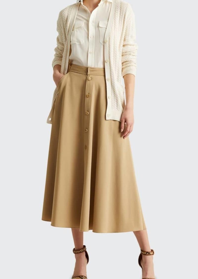 Ralph Lauren Collection Gerald Button-Front Wool Skirt