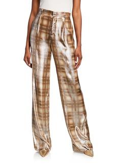 Ralph Lauren Collection Grafton Ombre Plaid Charmeuse Pants