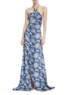 Ralph Lauren Halter Floral-Print Silk Gown with Toggle & Rope
