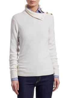 Ralph Lauren Iconic Style Turtleneck Button-Shoulder Cashmere Sweater