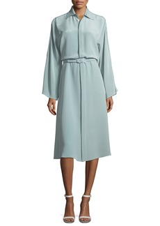 Ralph Lauren Karen Long-Sleeve Belted Silk Shirtdress