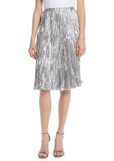 Ralph Lauren Collection Kieman Metallic Pleated Knee-Length Cocktail Skirt
