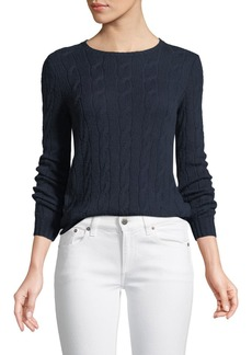 Ralph Lauren Collection Long-Sleeve Crewneck Cable-Knit Cashmere Sweater