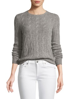Ralph Lauren Collection Long-Sleeve Crewneck Cashmere Cable-Knit Sweater
