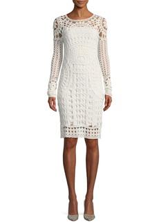 Ralph Lauren Collection Long-Sleeve Crocheted Silk Dress